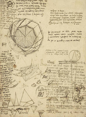 Decomposition Of Circle Into Bisangles From Atlantic Codex  Art Print by Leonardo Da Vinci