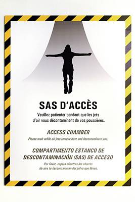 French Signs Photograph - Decontamination Chamber Sign by Chris Hellier