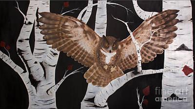 Black And White Owl Painting - Decora Sapientia by Jonathan Thomas