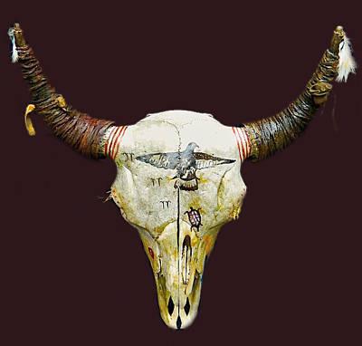 Arapaho Mixed Media - Decorated Buffalo Skull by Native Arts Trading