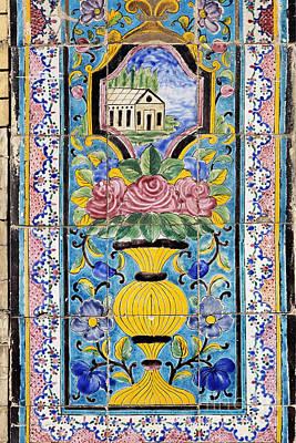 Decorated Tile Work At The Golestan Palace In Tehran Iran Art Print by Robert Preston