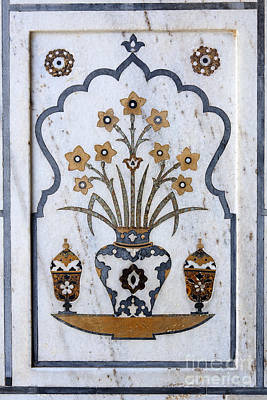 Inlay Marble Flower Pots Photograph - Decoration Inside The Baby Taj At Agra In India by Robert Preston