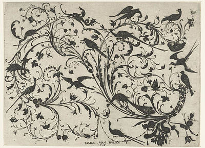 Decoration With Flowers And Birds, Anonymous Art Print by Anonymous