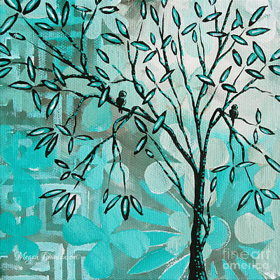 Decorative Abstract Floral Birds Landscape Painting Bird Haven I By Megan Duncanson Art Print by Megan Duncanson