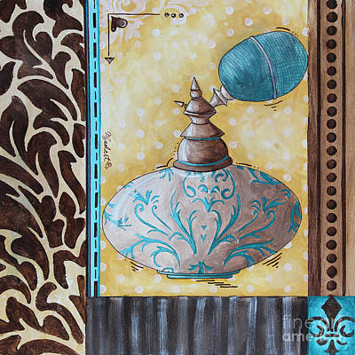 Perfume Bottles Painting - Decorative Bathroom Bath Art Original Perfume Bottle Painting Fantasy Perfume By Madart by Megan Duncanson