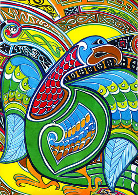 Painting - Decorative Celtic Eagle by Kate Shannon