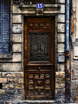 Photograph - Decorative Door Chalone Sur Soane France Number Thirteen by Bob Coates