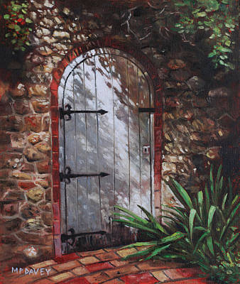 Dappled Light Painting - Decorative Door In Archway Set In Stone Wall Surrounded By Plants by Martin Davey