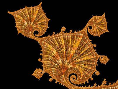 Digital Art - Decorative Golden Floral Fractal Leaves by Matthias Hauser