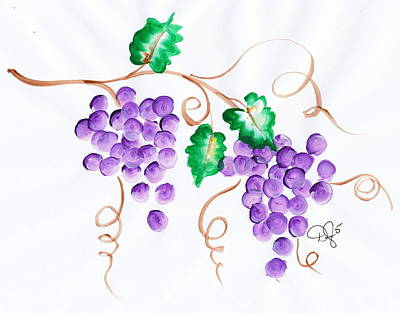 Glass Of Wine Painting - Decorative Grapes by Dale Jackson