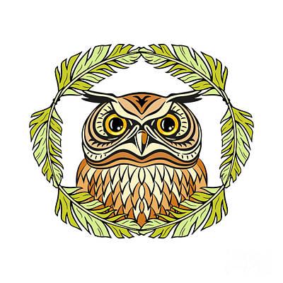 Decorative Illustration With An Owl Art Print