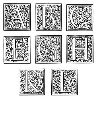 Painting - Decorative Initials, C1600 by Granger