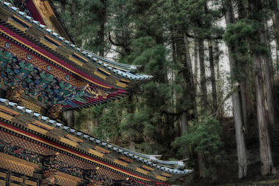 Decorative Japanese Temple Roof Art Print by Sheila Haddad