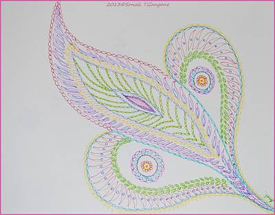 Thinking Of You Drawing - Decorative Leaf by Sonali Gangane