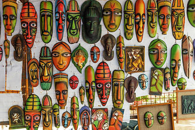 Handcrafted Photograph - Decorative Masks, New Delhi, India by Ali Kabas