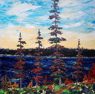 Decorative Pines Lakeside - Early Dusk Art Print