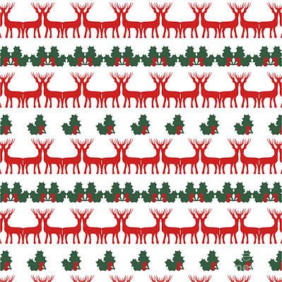 Happy New Year Wall Art - Digital Art - Decorative Reindeer Vector Pattern by Mattponchik