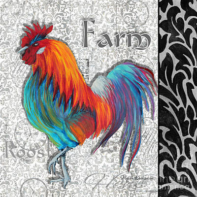 Roosting Painting - Decorative Rooster Chicken Decorative Art Original Painting King Of The Roost By Megan Duncanson by Megan Duncanson