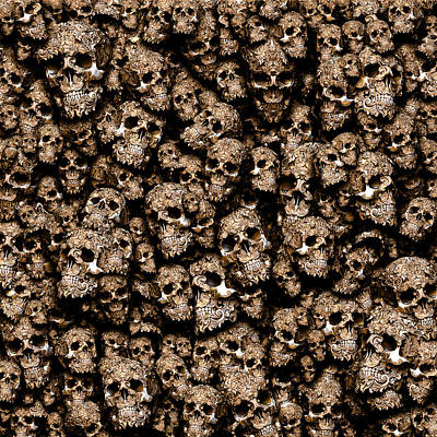 Victorian Death Digital Art - Decorative Skulls In Silver And Gold by Pixel Chemist
