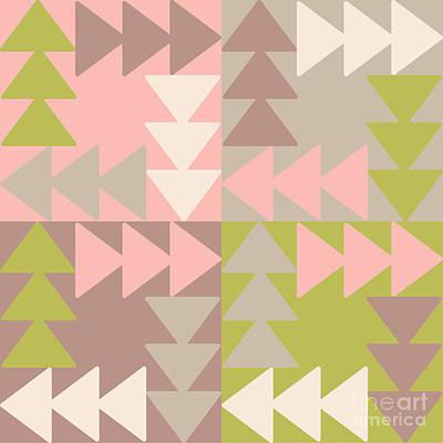 Patchwork Wall Art - Digital Art - Decorative Vector Poster Geometric by Matryoshka123