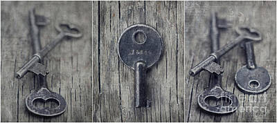 Old Keys Photograph - decorative vintage keys I by Priska Wettstein