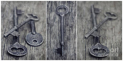 Old Keys Photograph - decorative vintage keys II by Priska Wettstein