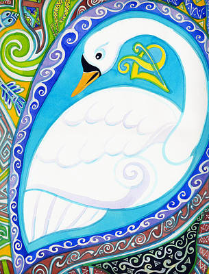 Painting - Decorative White Swan by Kate Shannon