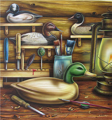 Decoy Carving Table Art Print by JQ Licensing