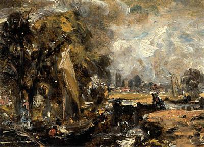 Hampstead Painting - Dedham Lock, Hampstead London, John Constable by Litz Collection