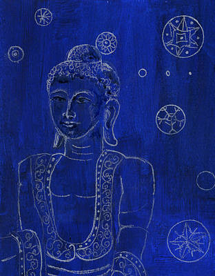 Buddha Drawing Drawing - Deep Blue Buddha by Wendy Le Ber