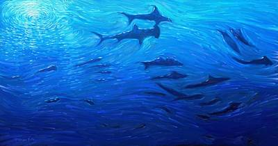 Painting - Deep Blue - School Of Sharks In A Deep Sea Ocean by Kanayo Ede