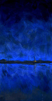 Black Light Paint Painting - Deep Blue Triptych 1 Of 3 by Charles Harden