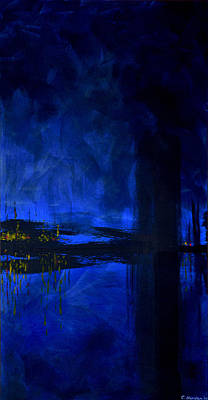 Black Light Paint Painting - Deep Blue Triptych 3 Of 3 by Charles Harden
