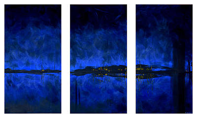 Black Light Paint Painting - Deep Blue Triptych by Charles Harden
