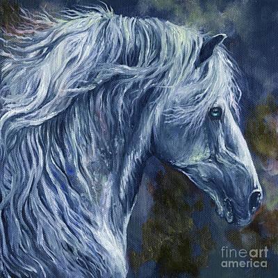 Long Mane Painting - Deep Blue Wild Horse by Angel  Tarantella