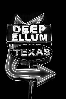 Photograph - Deep Ellum Sign Black And White by David Morefield