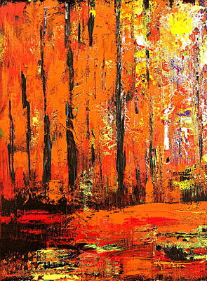 Autumn Landscape Mixed Media - Deep In The Autumn Forest by Kume Bryant