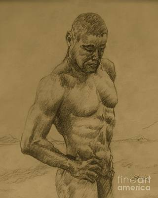 Men Mixed Media - Deep In Thought by Linda Simon
