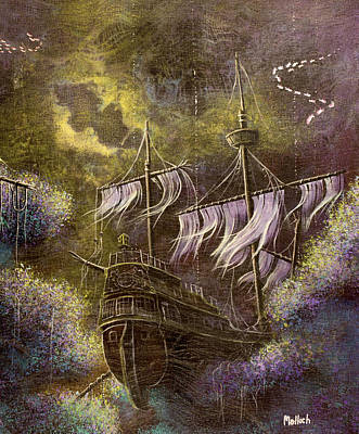 Pirate Ship Painting - Deep Peace by Jack Malloch