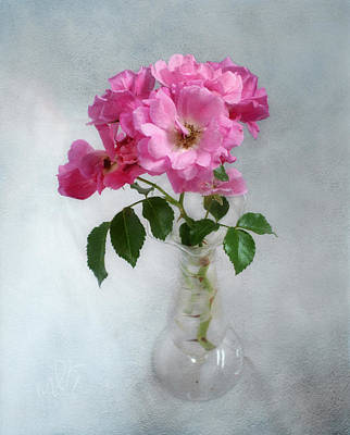 Photograph - Fragrant Deep Pink Roses In A Clear Glass Vase Still Life by Louise Kumpf