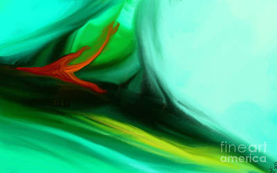 Abstract Digital Color Colorful Expressionism Impressionism Painting - Deep Sea by Anita Lewis