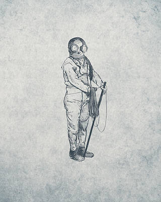 Scuba Diving Drawing - Deep Sea Diver - Nautical Design by World Art Prints And Designs