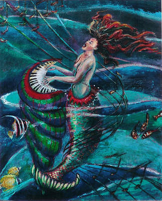 Of Sirens Painting - Deep Sea Melody by Maria Valladarez