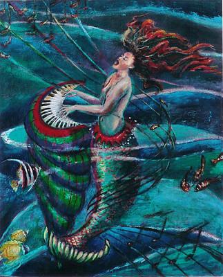 Naiad Painting - Deep Sea Melody by Maria Valladarez