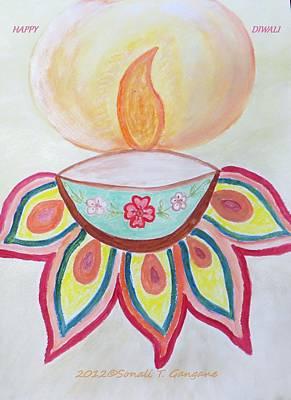 Diwali Painting - Deep by Sonali Gangane