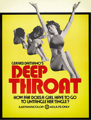 1972 Mixed Media - Deep Throat Movie Poster 1972 by Mountain Dreams