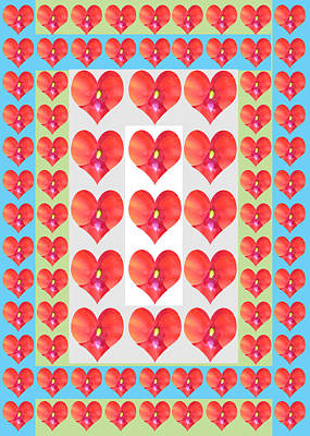 Painting - Deeply In Love Cherryhill Flower Petal Based Sweet Heart Pattern Colormania Graphics by Navin Joshi