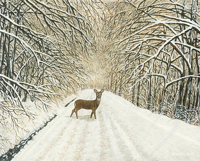Painting - Deer After Winter Storm by Lucinda VanVleck