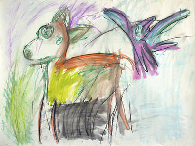 Pastel - Deer And Bird by Christopher Winkler