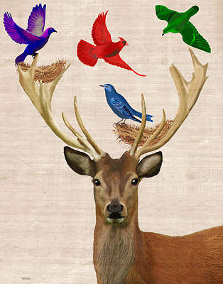 Digital Art - Deer And Birds Nests by Kelly McLaughlan
